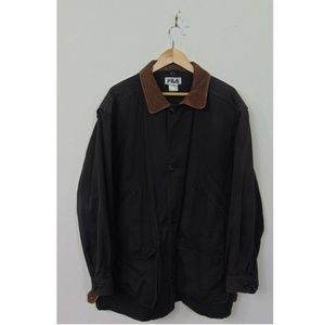 VTG Fila Men Jacket Leather Button Jacket Black